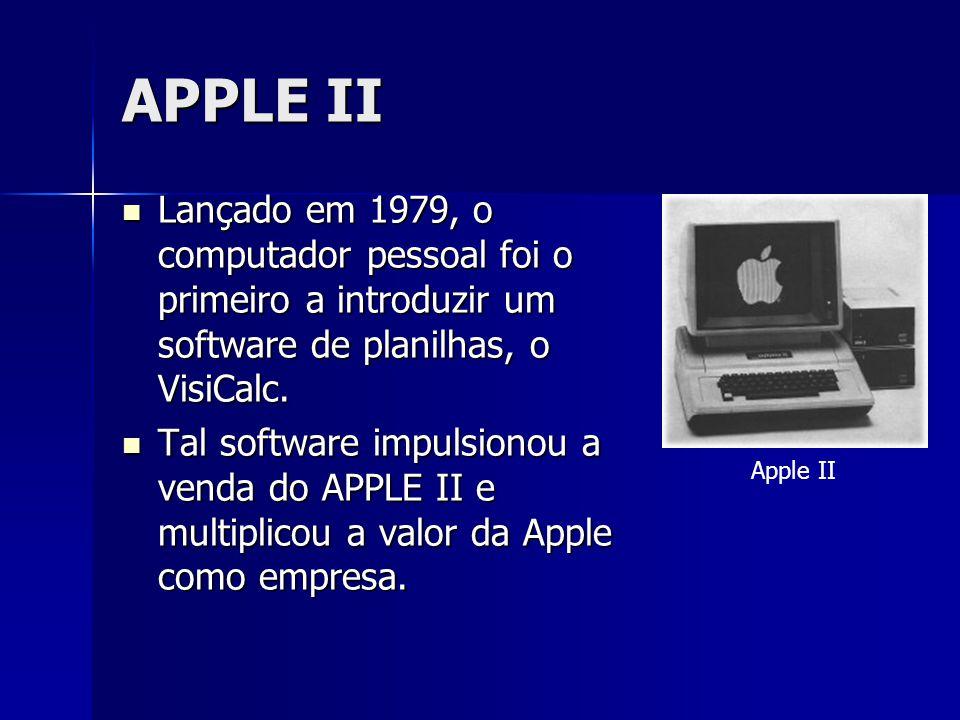 APPLE II Lançado em 1979, o computador pessoal foi o primeiro a introduzir um software de planilhas, o VisiCalc. Lançado em 1979, o computador pessoal