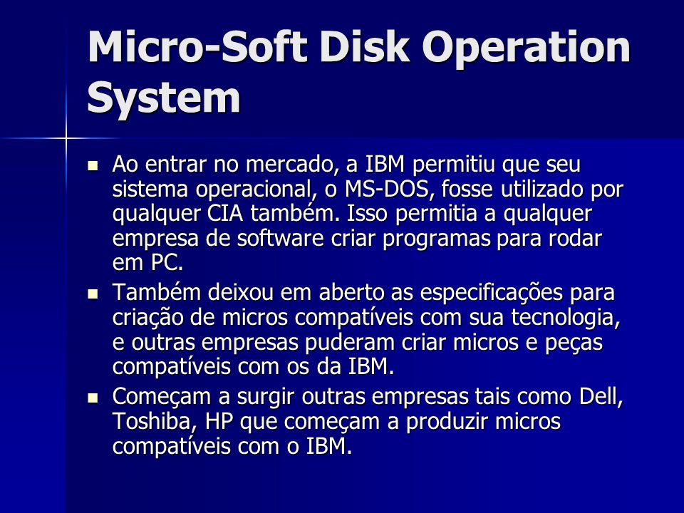 Micro-Soft Disk Operation System Ao entrar no mercado, a IBM permitiu que seu sistema operacional, o MS-DOS, fosse utilizado por qualquer CIA também.