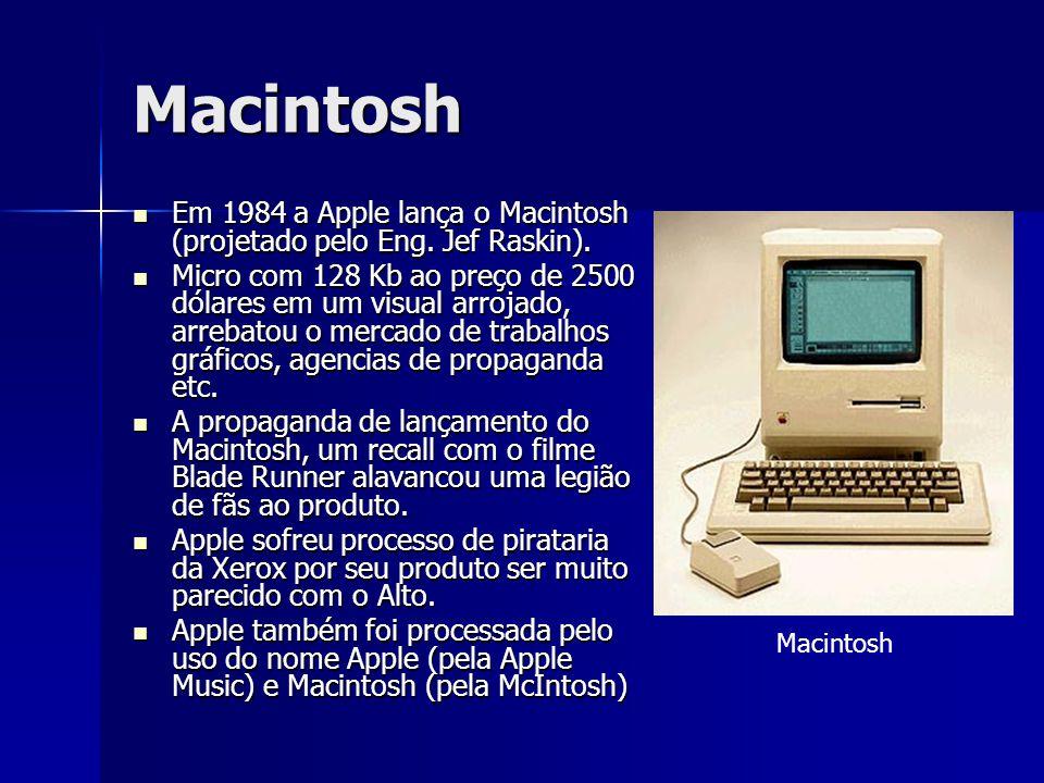 Macintosh Em 1984 a Apple lança o Macintosh (projetado pelo Eng. Jef Raskin). Em 1984 a Apple lança o Macintosh (projetado pelo Eng. Jef Raskin). Micr