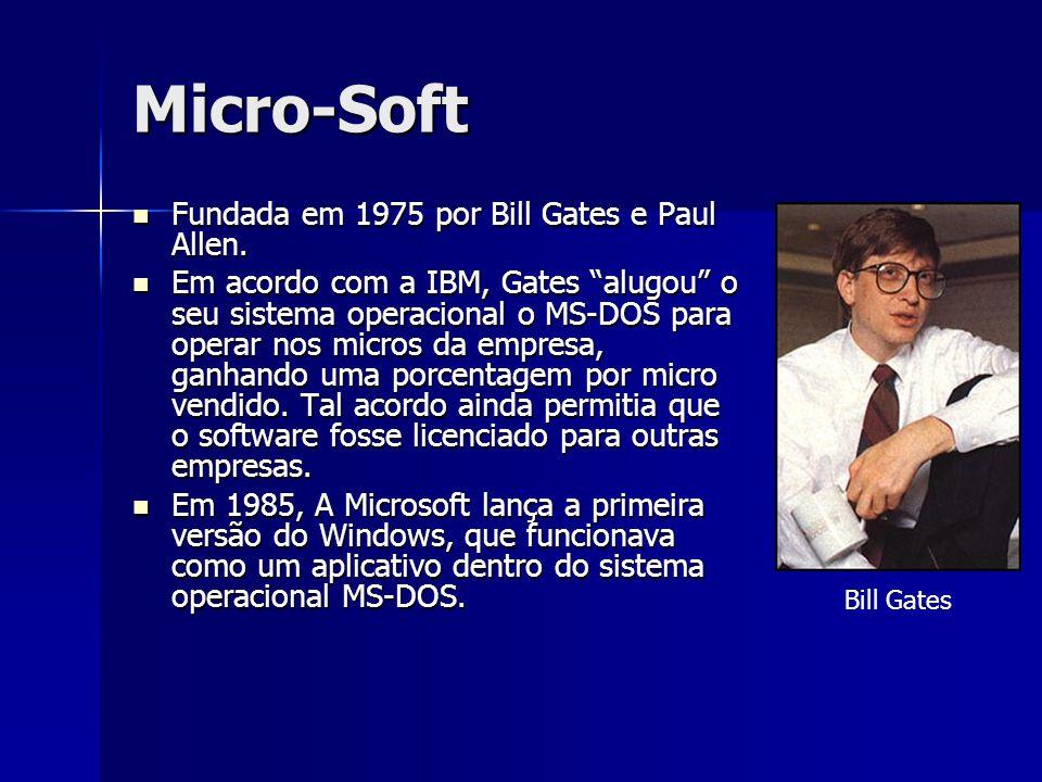 """Micro-Soft Fundada em 1975 por Bill Gates e Paul Allen. Fundada em 1975 por Bill Gates e Paul Allen. Em acordo com a IBM, Gates """"alugou"""" o seu sistema"""