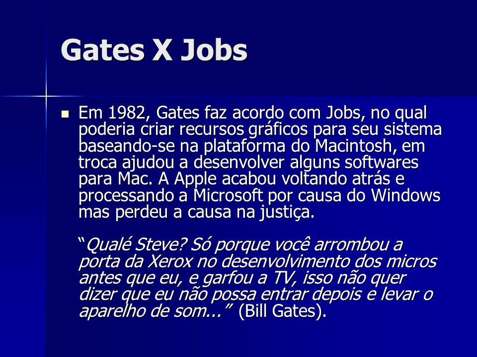 Gates X Jobs Em 1982, Gates faz acordo com Jobs, no qual poderia criar recursos gráficos para seu sistema baseando-se na plataforma do Macintosh, em t