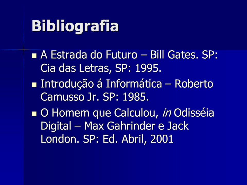Bibliografia A Estrada do Futuro – Bill Gates. SP: Cia das Letras, SP: 1995. A Estrada do Futuro – Bill Gates. SP: Cia das Letras, SP: 1995. Introduçã