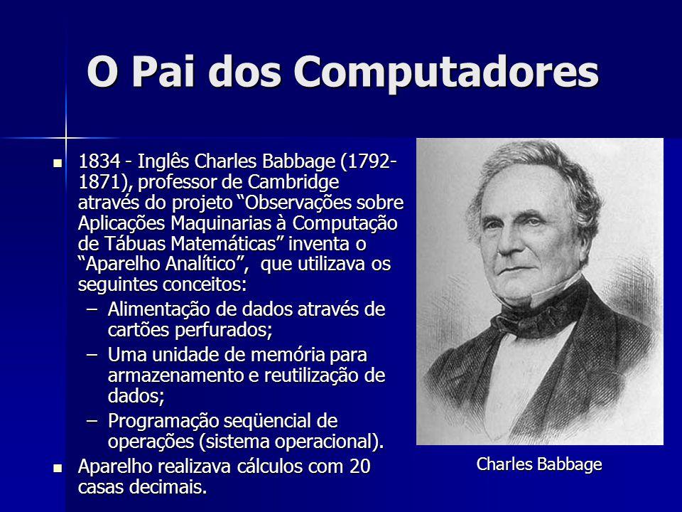"""O Pai dos Computadores 1834 - Inglês Charles Babbage (1792- 1871), professor de Cambridge através do projeto """"Observações sobre Aplicações Maquinarias"""