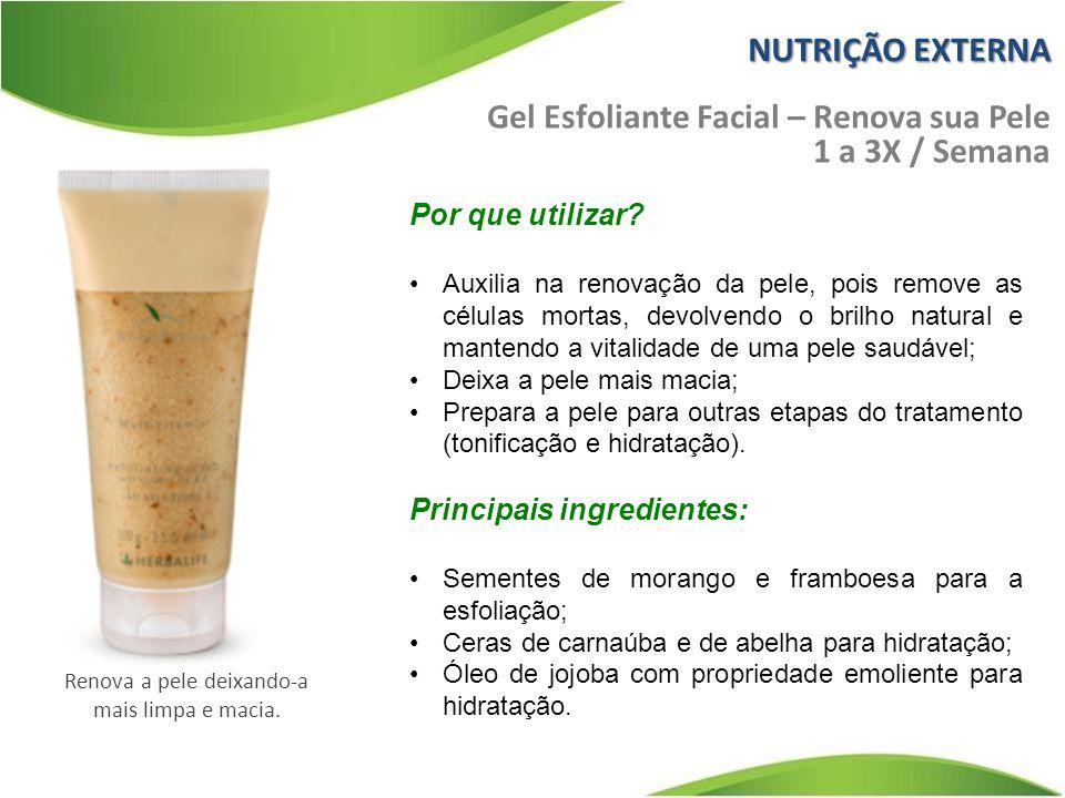 NUTRIÇÃO EXTERNA Gel Esfoliante Facial – Renova sua Pele 1 a 3X / Semana Por que utilizar.