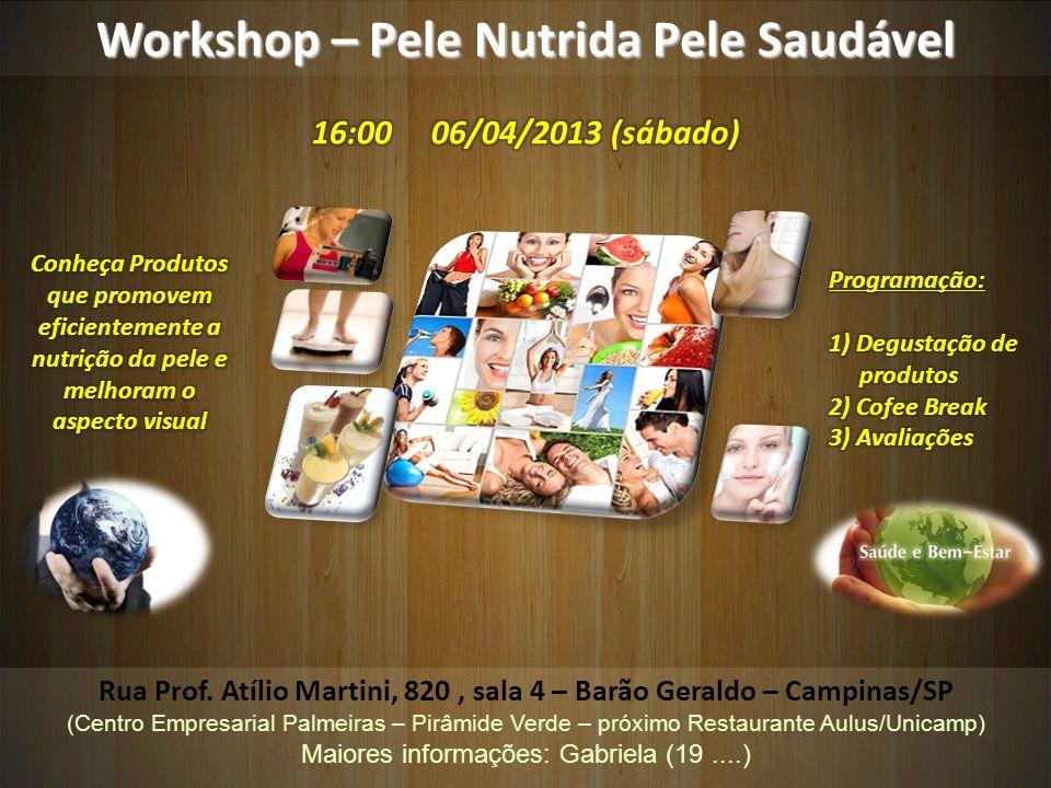 Workshop – Pele Nutrida Pele Saudável Rua Prof. Atílio Martini, 820, sala 4 – Barão Geraldo – Campinas/SP (Centro Empresarial Palmeiras – Pirâmide Ver