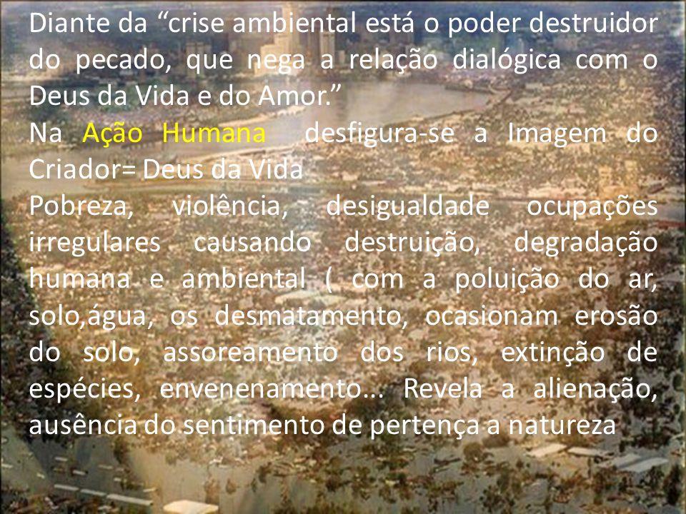 """Diante da """"crise ambiental está o poder destruidor do pecado, que nega a relação dialógica com o Deus da Vida e do Amor."""" Na Ação Humana desfigura-se"""