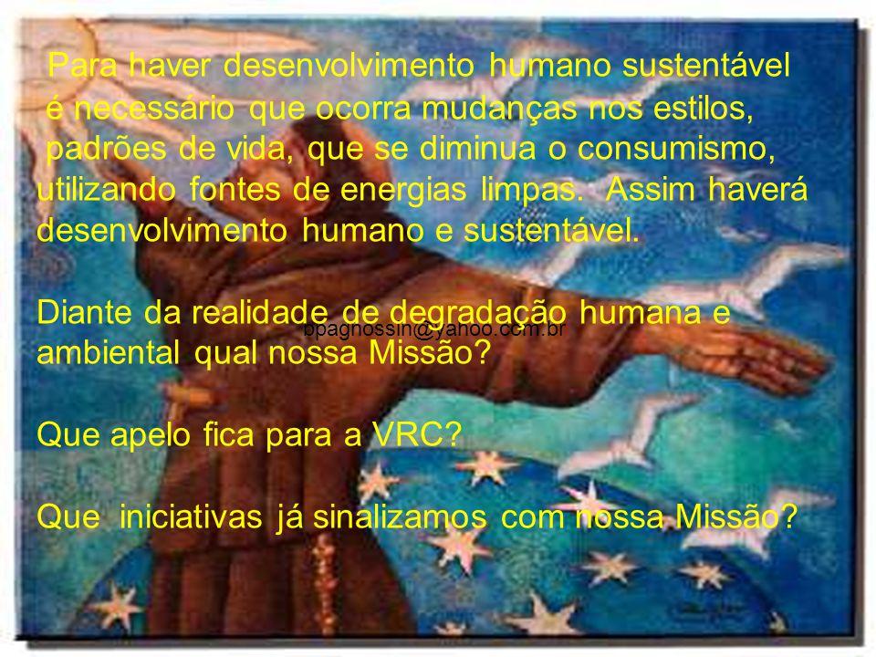 bpagnossin@yahoo.com.br Para haver desenvolvimento humano sustentável é necessário que ocorra mudanças nos estilos, padrões de vida, que se diminua o