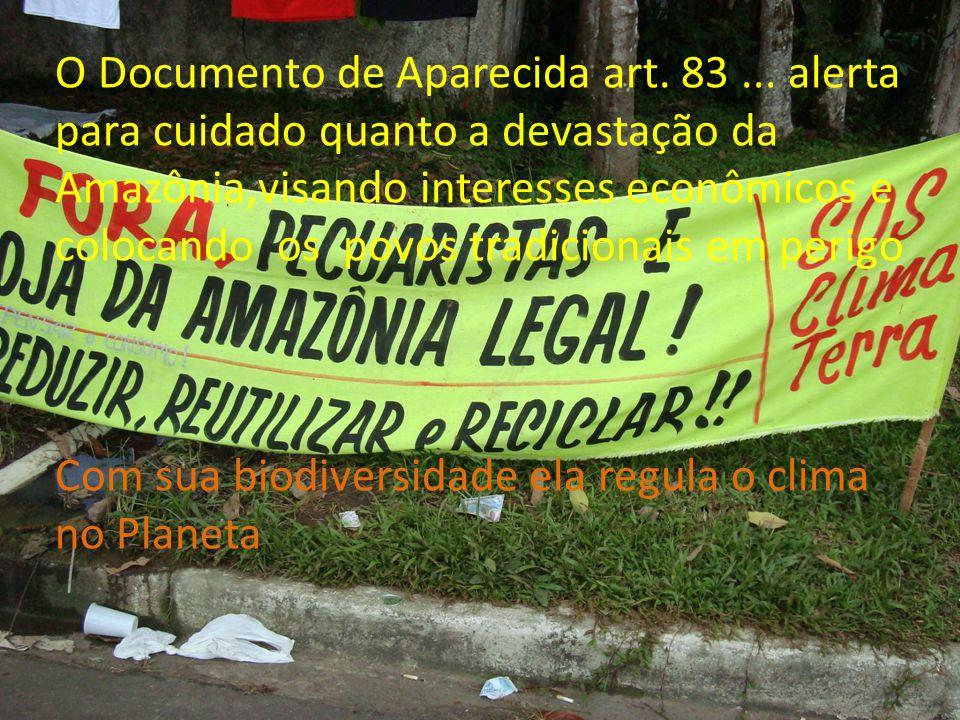 O Documento de Aparecida art. 83... alerta para cuidado quanto a devastação da Amazônia,visando interesses econômicos e colocando os povos tradicionai