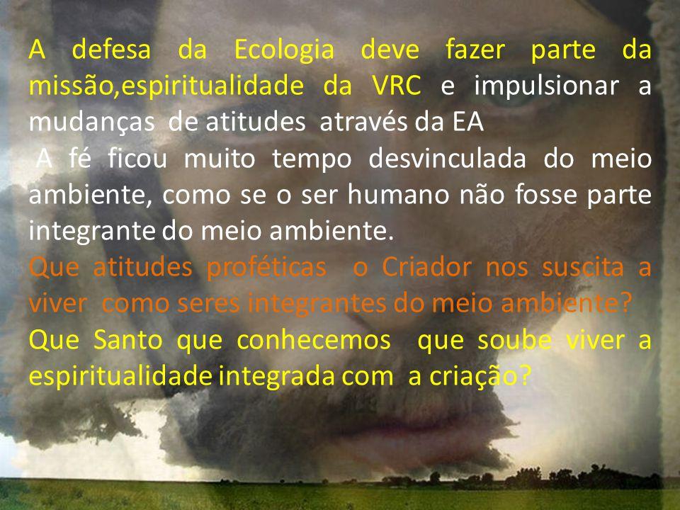 A defesa da Ecologia deve fazer parte da missão,espiritualidade da VRC e impulsionar a mudanças de atitudes através da EA A fé ficou muito tempo desvi