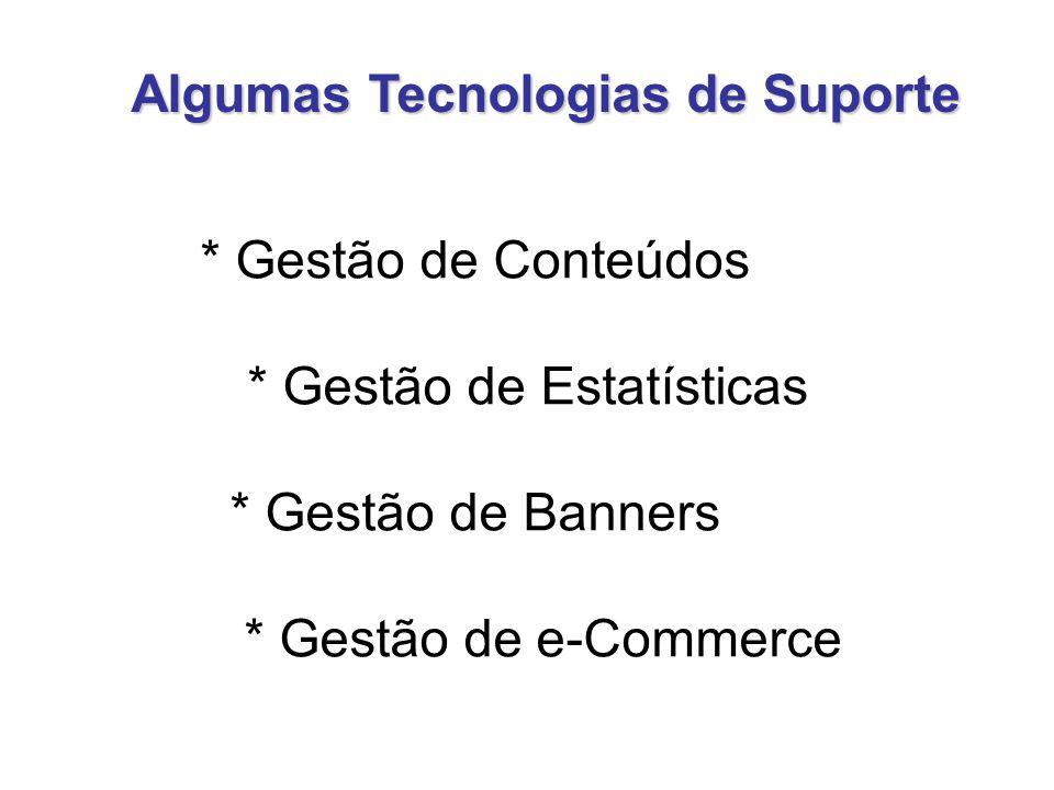 * Gestão de Conteúdos * Gestão de Estatísticas * Gestão de Banners * Gestão de e-Commerce Algumas Tecnologias de Suporte