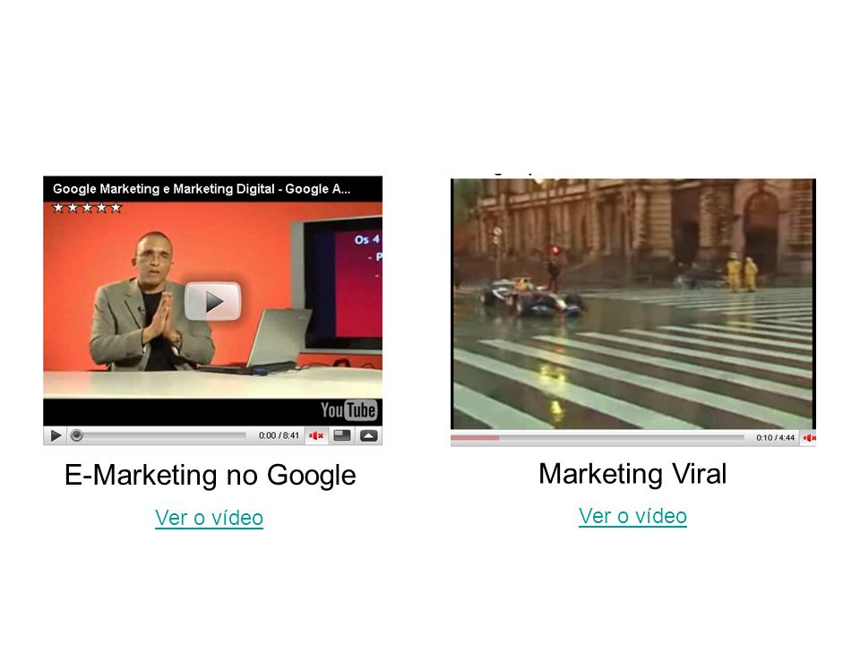 E-Marketing no Google Ver o vídeo Marketing Viral Ver o vídeo