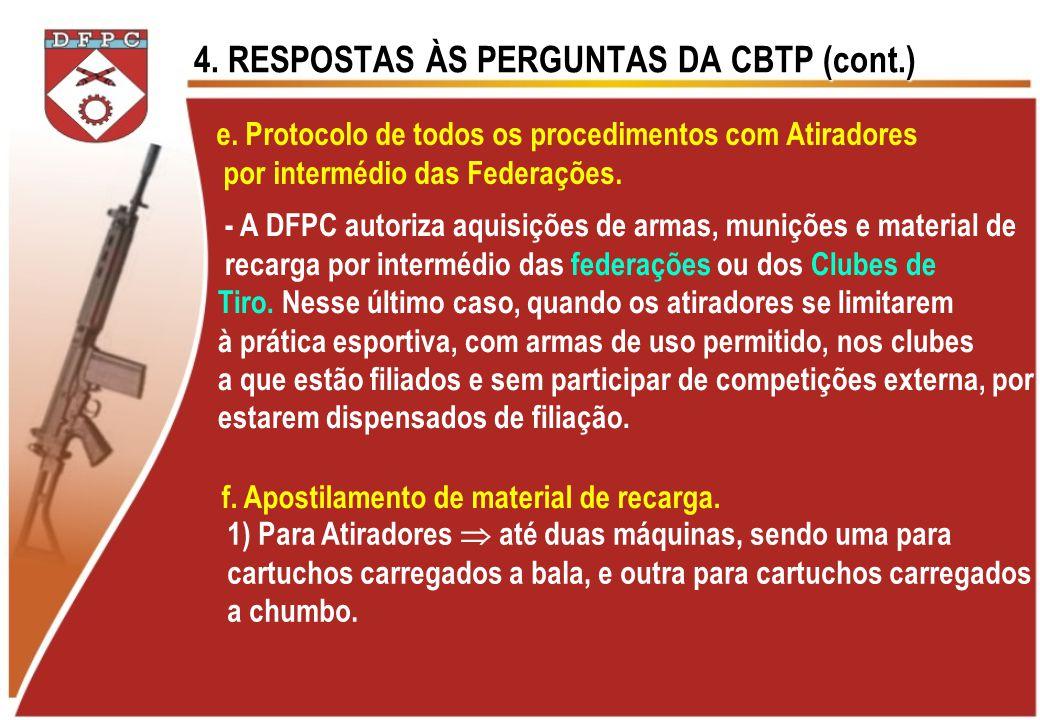 4. RESPOSTAS ÀS PERGUNTAS DA CBTP (cont.) e. Protocolo de todos os procedimentos com Atiradores por intermédio das Federações. - A DFPC autoriza aquis