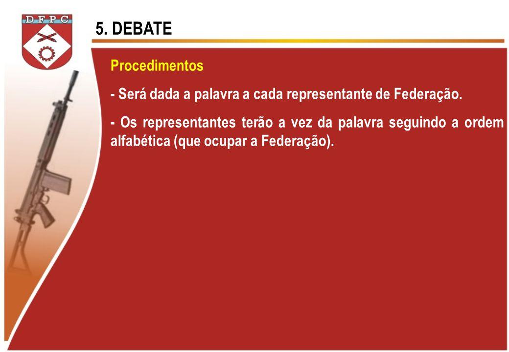 Procedimentos - Será dada a palavra a cada representante de Federação. - Os representantes terão a vez da palavra seguindo a ordem alfabética (que ocu
