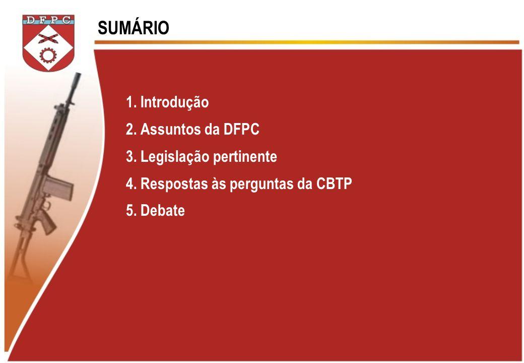 1. Introdução 2. Assuntos da DFPC 3. Legislação pertinente 4. Respostas às perguntas da CBTP 5. Debate SUMÁRIO