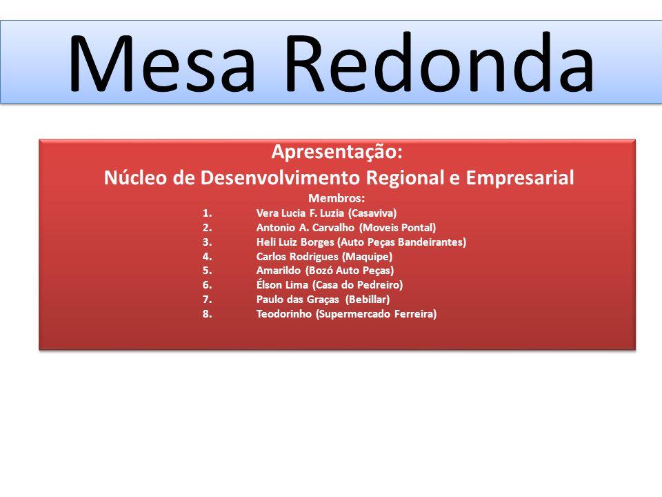 Mesa Redonda Apresentação: Núcleo de Desenvolvimento Regional e Empresarial Membros: 1.Vera Lucia F.