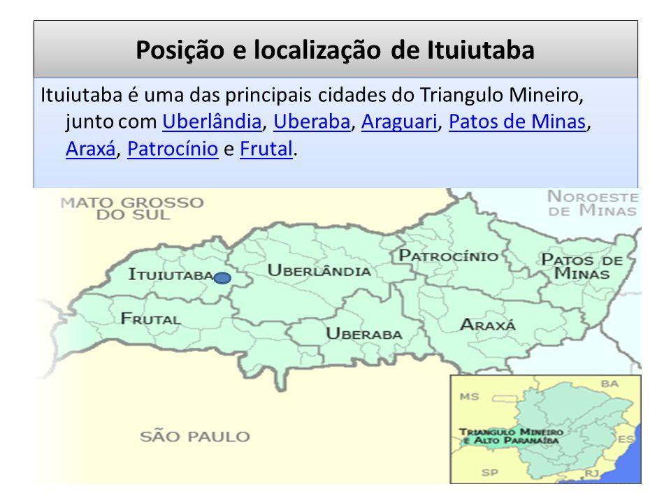 Posição e localização de Ituiutaba Ituiutaba é uma das principais cidades do Triangulo Mineiro, junto com Uberlândia, Uberaba, Araguari, Patos de Minas, Araxá, Patrocínio e Frutal.UberlândiaUberabaAraguariPatos de Minas AraxáPatrocínioFrutal Ituiutaba é uma das principais cidades do Triangulo Mineiro, junto com Uberlândia, Uberaba, Araguari, Patos de Minas, Araxá, Patrocínio e Frutal.UberlândiaUberabaAraguariPatos de Minas AraxáPatrocínioFrutal