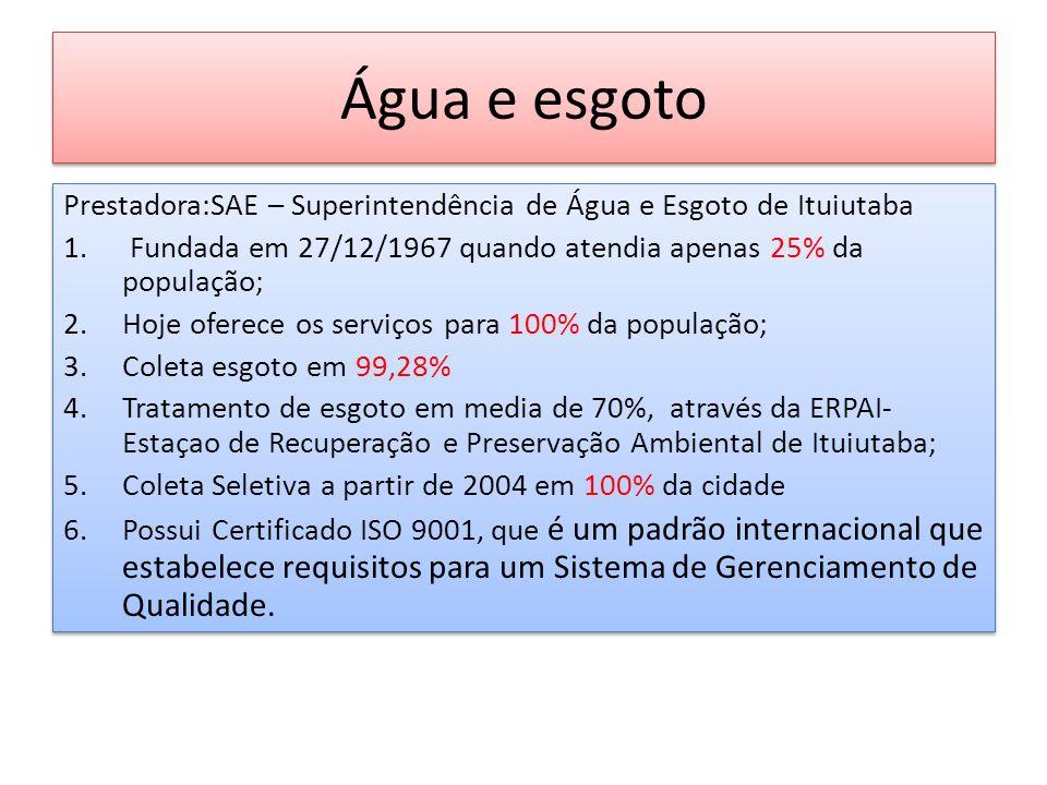 Água e esgoto Prestadora:SAE – Superintendência de Água e Esgoto de Ituiutaba 1. Fundada em 27/12/1967 quando atendia apenas 25% da população; 2.Hoje
