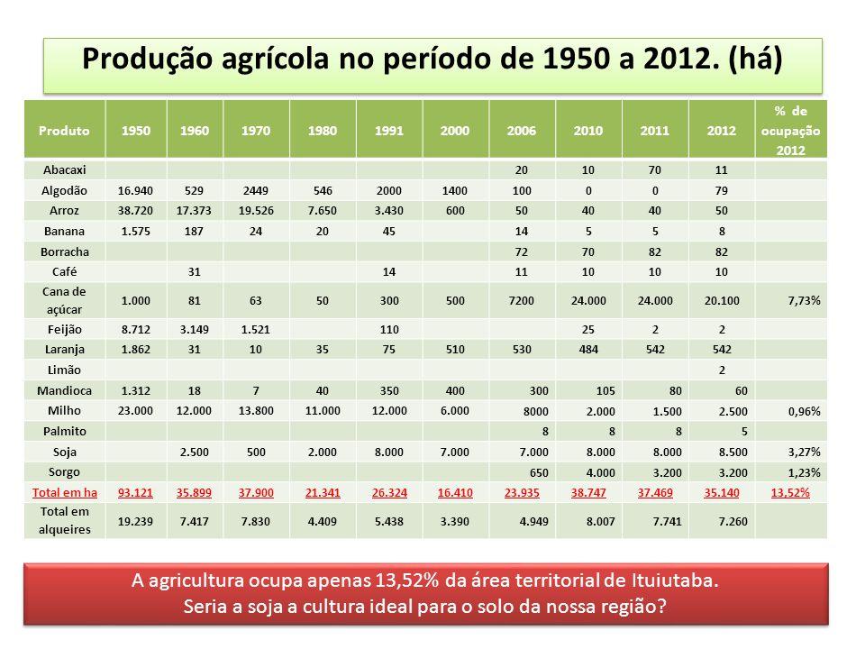 Produção agrícola no período de 1950 a 2012. (há) Produto1950196019701980199120002006201020112012 % de ocupação 2012 Abacaxi20107011 Algodão16.9405292