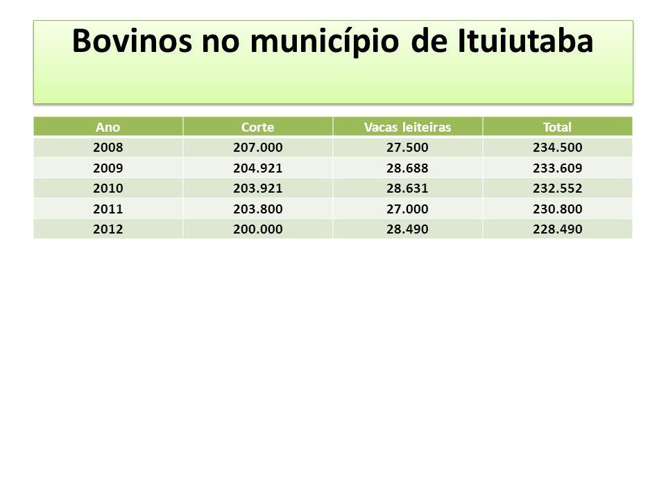 Bovinos no município de Ituiutaba AnoCorteVacas leiteirasTotal 2008207.00027.500234.500 2009204.92128.688233.609 2010203.92128.631232.552 2011203.80027.000230.800 2012200.00028.490228.490