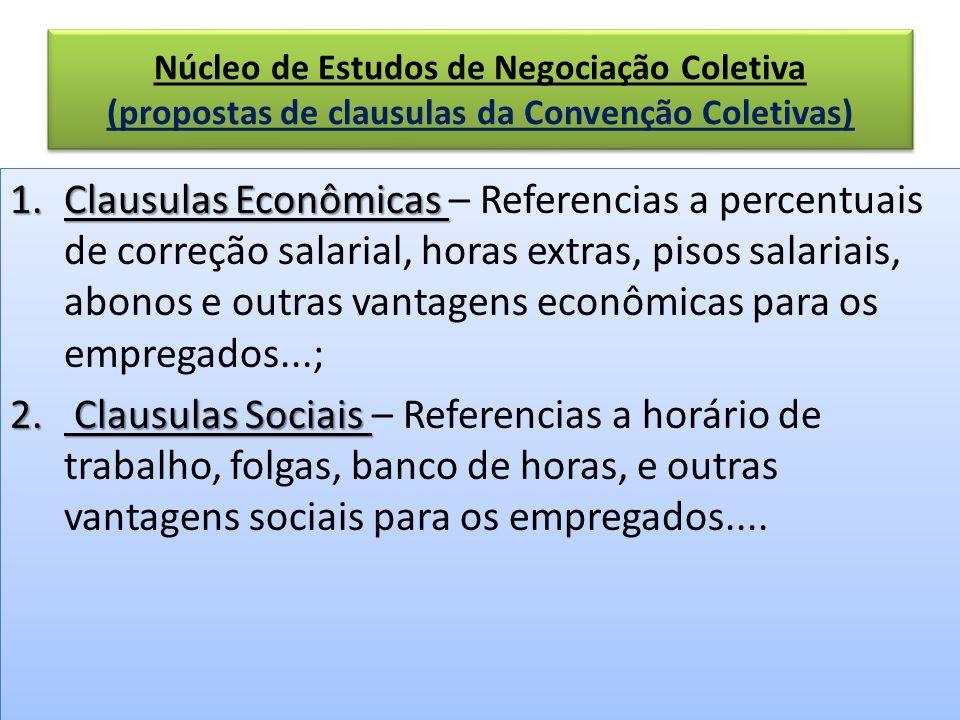 Núcleo de Estudos de Negociação Coletiva (propostas de clausulas da Convenção Coletivas) 1.Clausulas Econômicas 1.Clausulas Econômicas – Referencias a