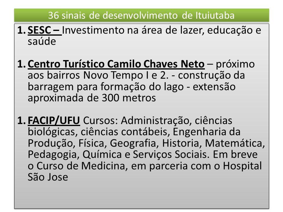 36 sinais de desenvolvimento de Ituiutaba 1.SESC – Investimento na área de lazer, educação e saúde 1.Centro Turístico Camilo Chaves Neto – próximo aos bairros Novo Tempo I e 2.