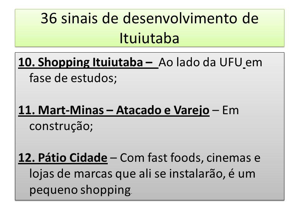 36 sinais de desenvolvimento de Ituiutaba 10. Shopping Ituiutaba – Ao lado da UFU em fase de estudos; 11. Mart-Minas – Atacado e Varejo – Em construçã