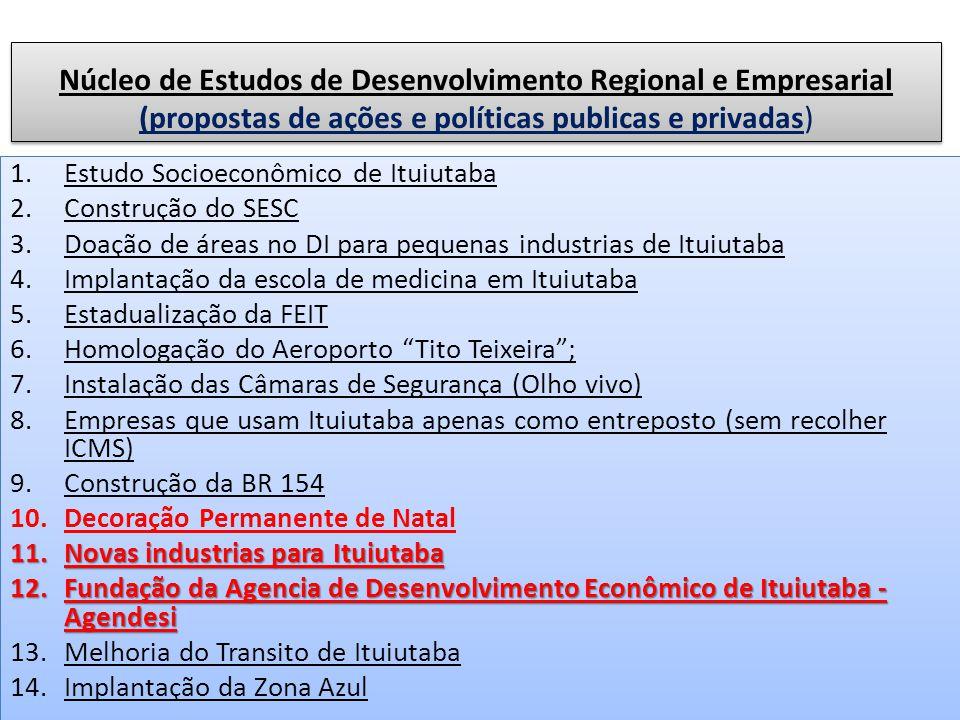 Núcleo de Estudos de Desenvolvimento Regional e Empresarial (propostas de ações e políticas publicas e privadas) 1.Estudo Socioeconômico de Ituiutaba