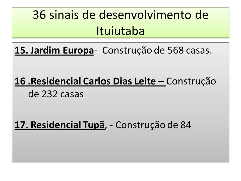 36 sinais de desenvolvimento de Ituiutaba 15. Jardim Europa- Construção de 568 casas. 16.Residencial Carlos Dias Leite – Construção de 232 casas 17. R