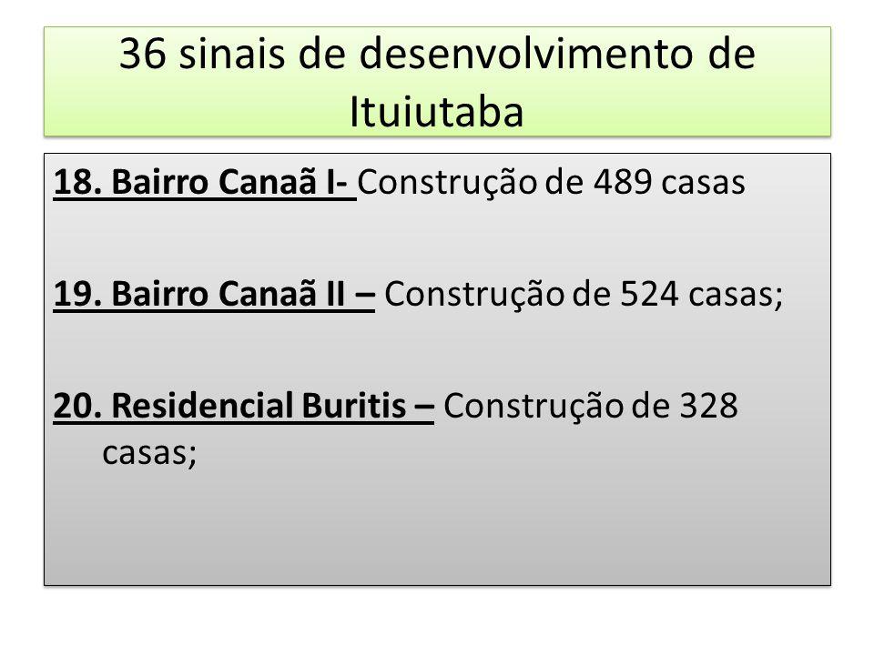 36 sinais de desenvolvimento de Ituiutaba 18. Bairro Canaã I- Construção de 489 casas 19. Bairro Canaã II – Construção de 524 casas; 20. Residencial B