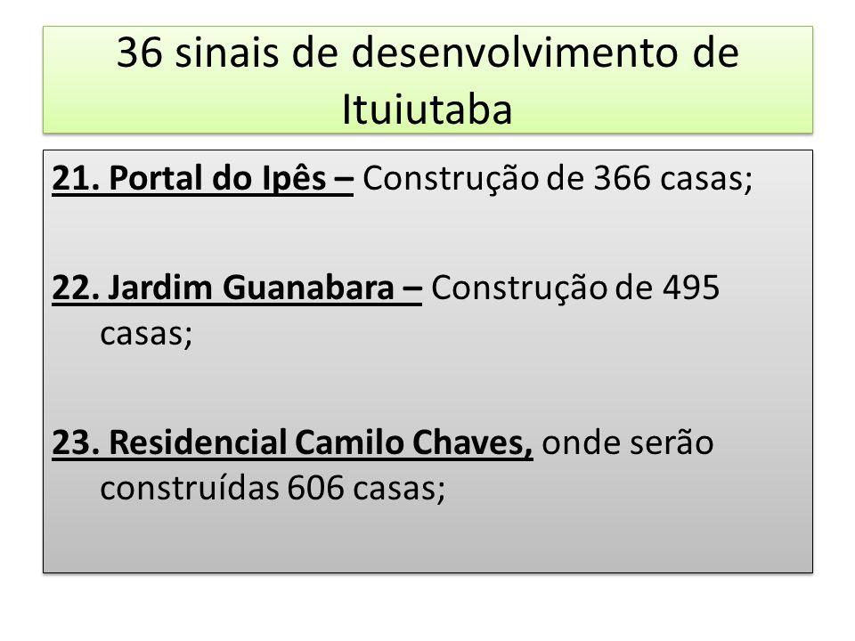 36 sinais de desenvolvimento de Ituiutaba 21. Portal do Ipês – Construção de 366 casas; 22. Jardim Guanabara – Construção de 495 casas; 23. Residencia
