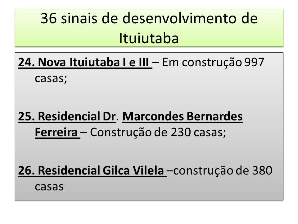 36 sinais de desenvolvimento de Ituiutaba 24. Nova Ituiutaba I e III – Em construção 997 casas; 25. Residencial Dr. Marcondes Bernardes Ferreira – Con