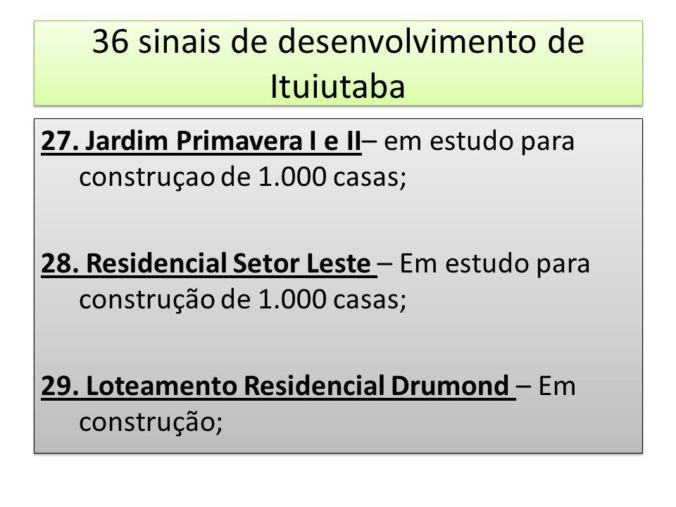 36 sinais de desenvolvimento de Ituiutaba 27. Jardim Primavera I e II– em estudo para construçao de 1.000 casas; 28. Residencial Setor Leste – Em estu