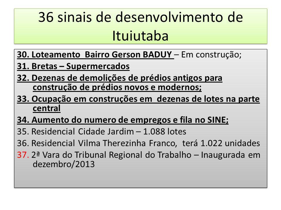 36 sinais de desenvolvimento de Ituiutaba 30. Loteamento Bairro Gerson BADUY – Em construção; 31. Bretas – Supermercados 32. Dezenas de demolições de