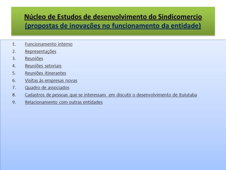 Núcleo de Estudos de desenvolvimento do Sindicomercio (propostas de inovações no funcionamento da entidade) 1.Funcionamento interno 2.Representações 3