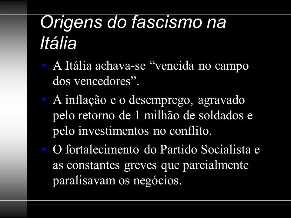 Origens do fascismo na Itália A Itália achava-se vencida no campo dos vencedores .
