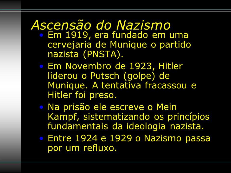 Ascensão do Nazismo Em 1919, era fundado em uma cervejaria de Munique o partido nazista (PNSTA).