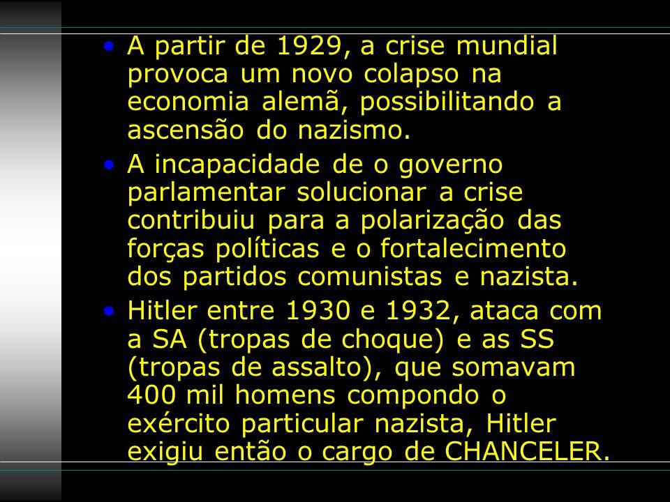 A partir de 1929, a crise mundial provoca um novo colapso na economia alemã, possibilitando a ascensão do nazismo.