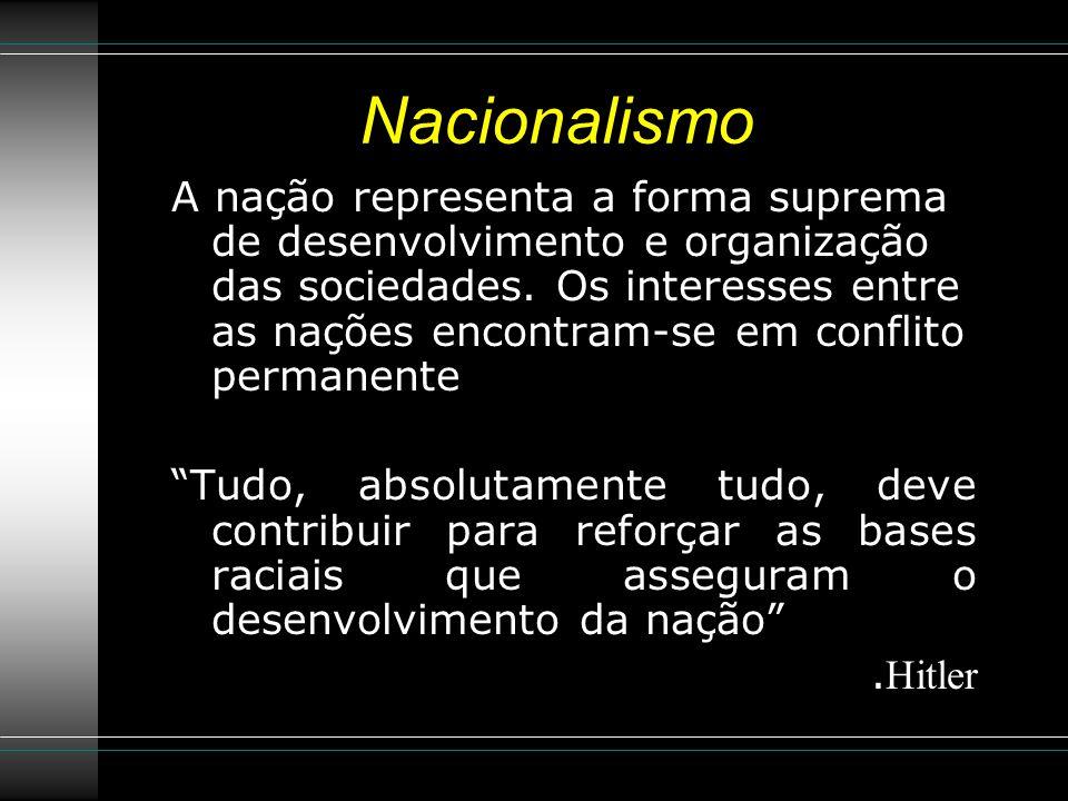 Nacionalismo A nação representa a forma suprema de desenvolvimento e organização das sociedades.