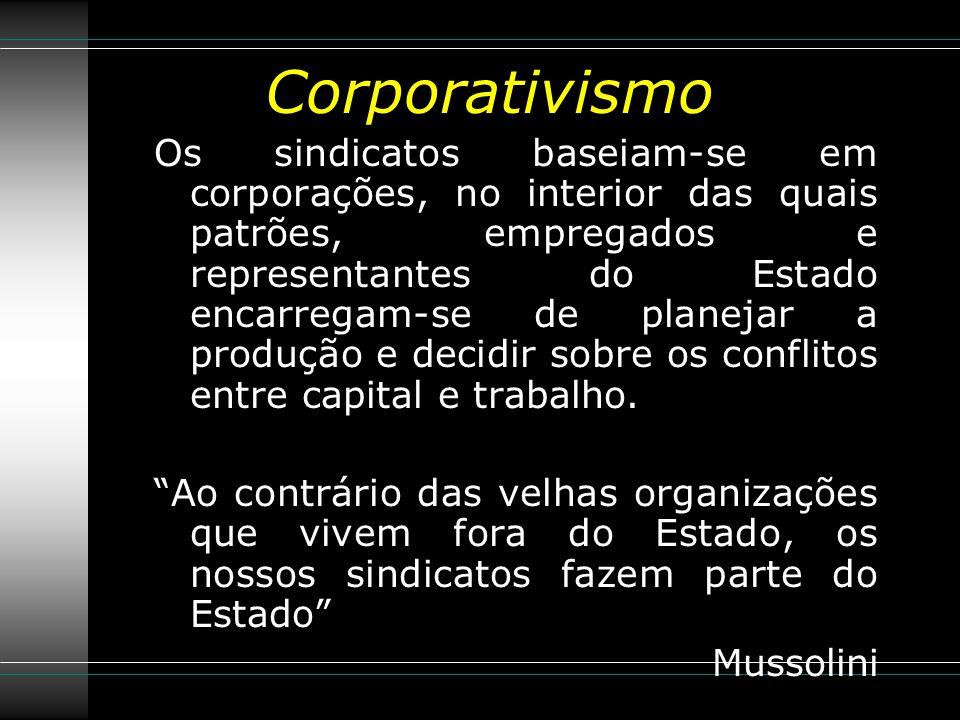 Corporativismo Os sindicatos baseiam-se em corporações, no interior das quais patrões, empregados e representantes do Estado encarregam-se de planejar a produção e decidir sobre os conflitos entre capital e trabalho.
