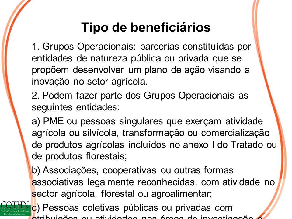 Tipo de beneficiários 1. Grupos Operacionais: parcerias constituídas por entidades de natureza pública ou privada que se propõem desenvolver um plano
