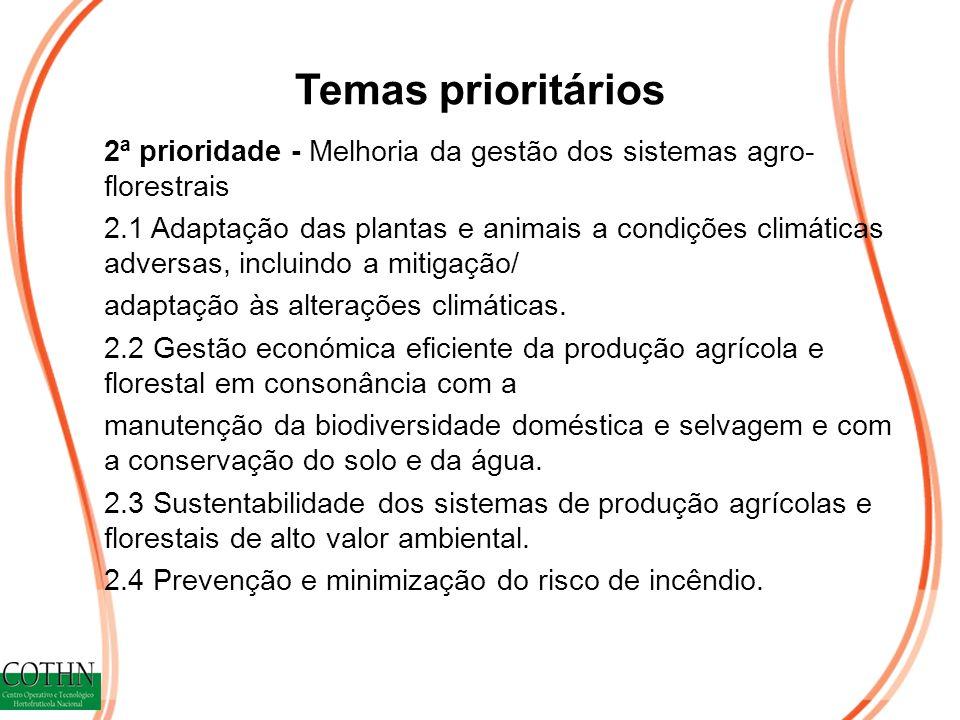 Temas prioritários 2ª prioridade - Melhoria da gestão dos sistemas agro- florestrais 2.1 Adaptação das plantas e animais a condições climáticas adversas, incluindo a mitigação/ adaptação às alterações climáticas.