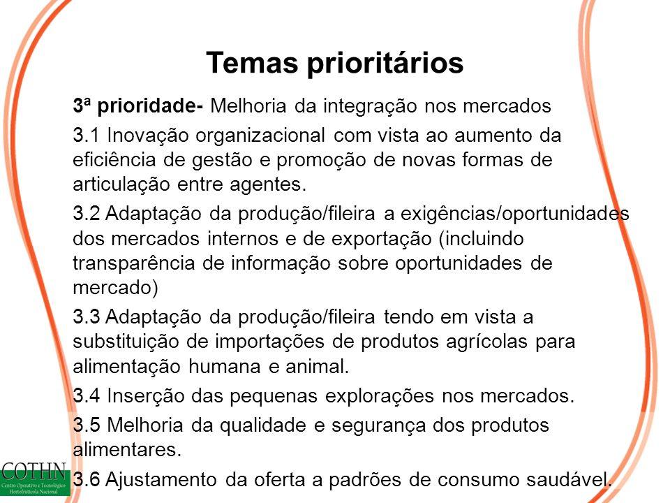 Temas prioritários 3ª prioridade- Melhoria da integração nos mercados 3.1 Inovação organizacional com vista ao aumento da eficiência de gestão e promoção de novas formas de articulação entre agentes.