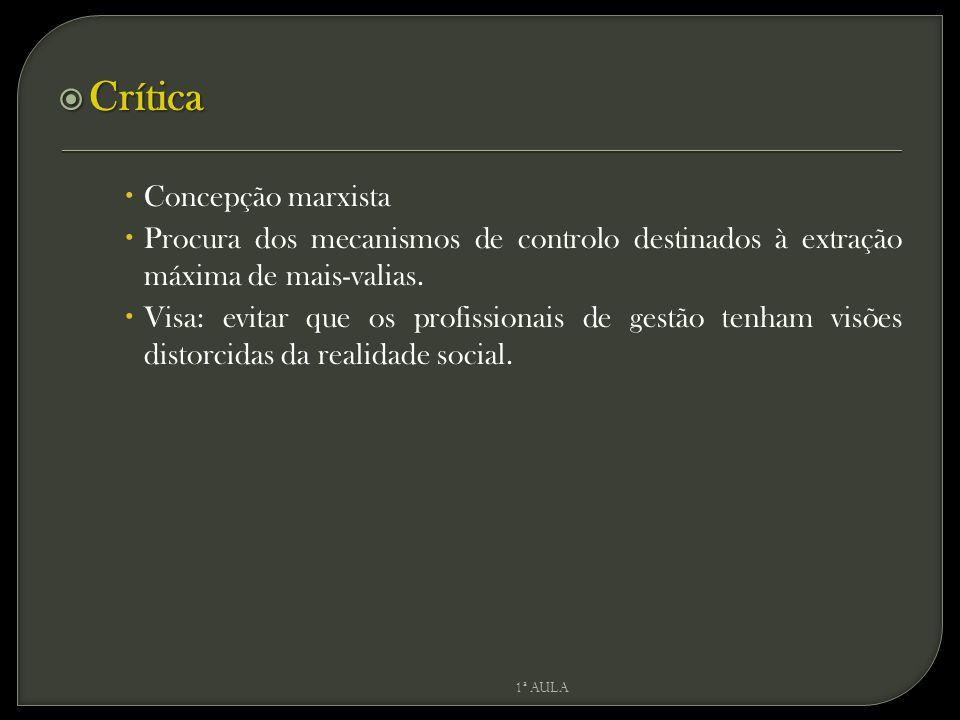  Crítica  Concepção marxista  Procura dos mecanismos de controlo destinados à extração máxima de mais-valias.