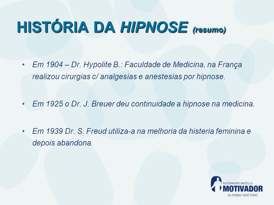 HISTÓRIA DA HIPNOSE (resumo) Em 1904 – Dr.
