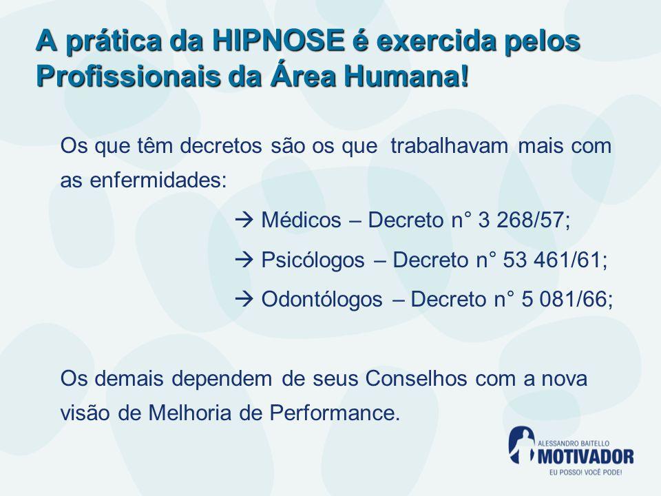 A prática da HIPNOSE é exercida pelos Profissionais da Área Humana.