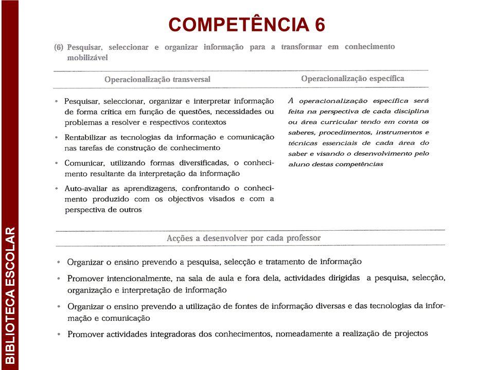COMPETÊNCIA 6 BIBLIOTECA ESCOLAR