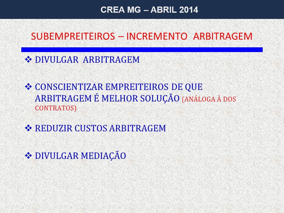 CREA MG – ABRIL 2014  DIVULGAR ARBITRAGEM  CONSCIENTIZAR EMPREITEIROS DE QUE ARBITRAGEM É MELHOR SOLUÇÃO (ANÁLOGA À DOS CONTRATOS)  REDUZIR CUSTOS ARBITRAGEM  DIVULGAR MEDIAÇÃO SUBEMPREITEIROS – INCREMENTO ARBITRAGEM