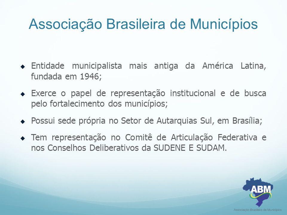 Associação Brasileira de Municípios  Entidade municipalista mais antiga da América Latina, fundada em 1946;  Exerce o papel de representação institu