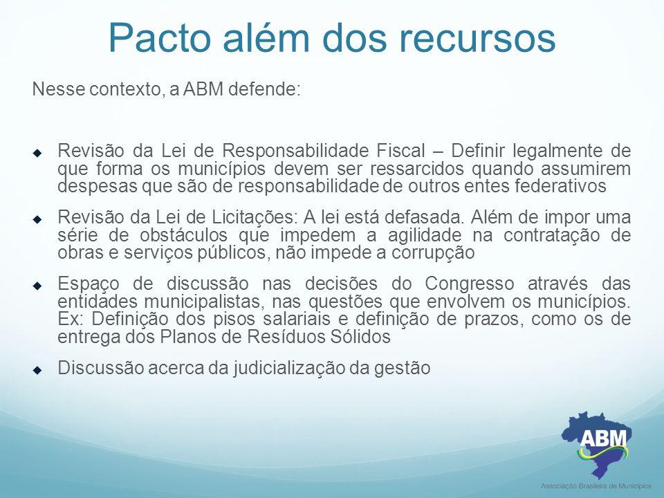 Pacto além dos recursos Nesse contexto, a ABM defende:  Revisão da Lei de Responsabilidade Fiscal – Definir legalmente de que forma os municípios dev