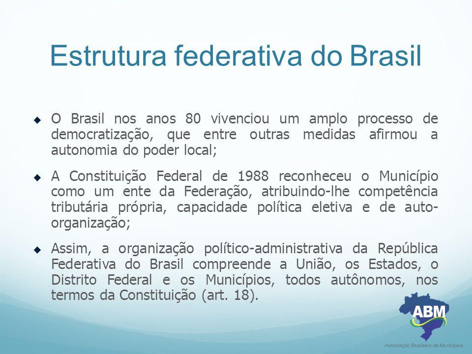 Estrutura federativa do Brasil  O Brasil nos anos 80 vivenciou um amplo processo de democratização, que entre outras medidas afirmou a autonomia do p